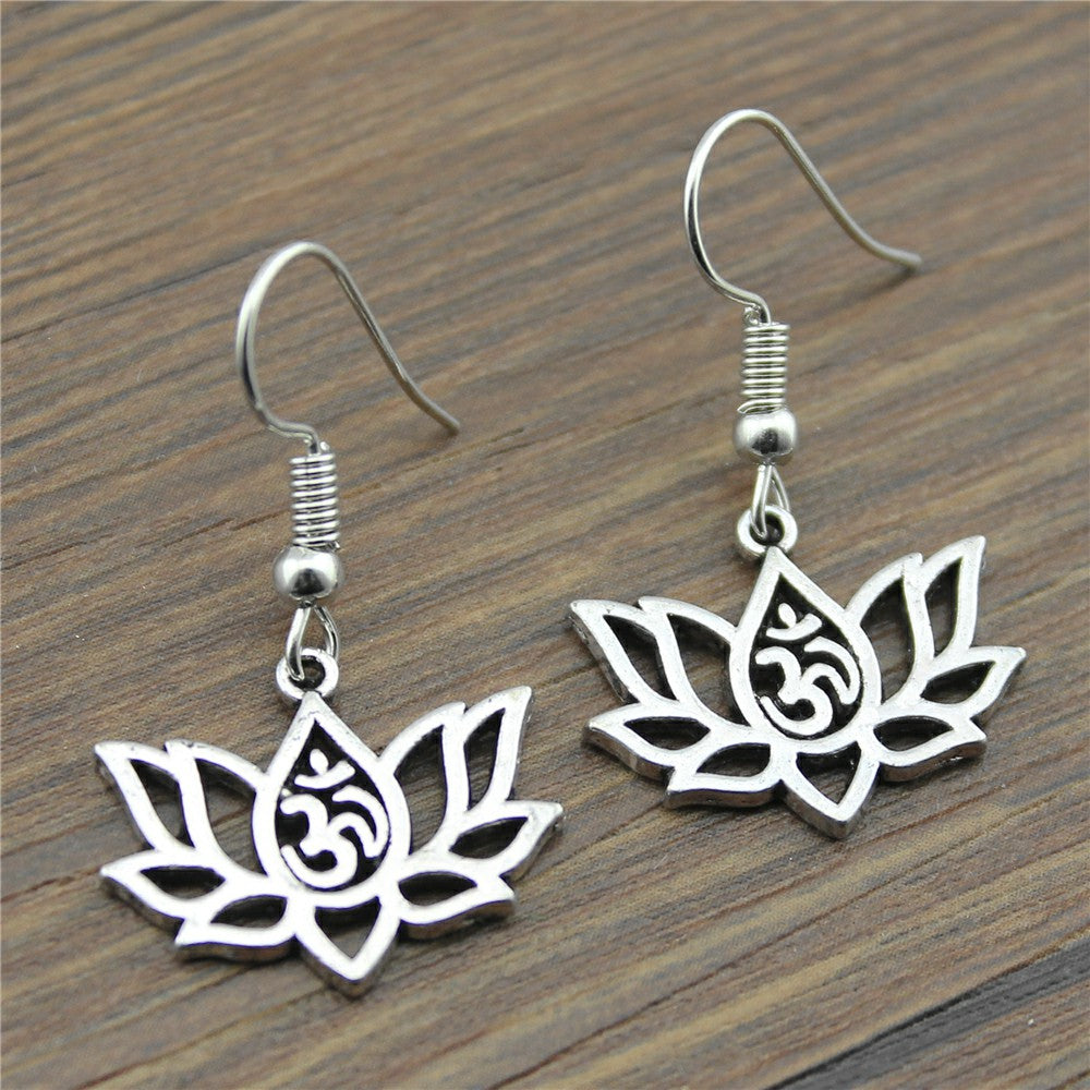 Simple Design Lotus | Om Drop Earrings