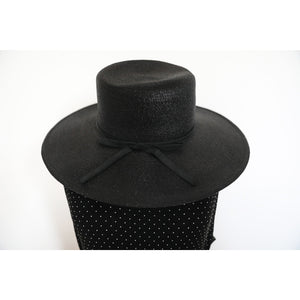 Black Woven Wide Brim Hat with Bow