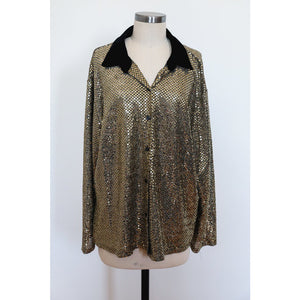 Gold Sequin Top with Velvet Collar
