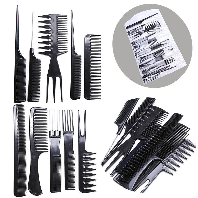 10pcs/Set Professional Hair Brush Comb Salon Barber Anti-static  Hairdressing Combs Hair Care Styling Tools-GBW501