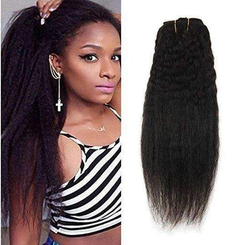 Clip In Afro Kinky Straight Natural Black Human Hair Extensions