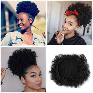 8inch African American Afro Short Kinky Curly Puff Ponytail Bun Hair Extension Synthetic Large Round Ponytail Gbw047