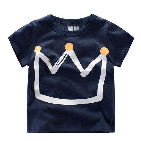 Crown Print Short Sleeve T-shirts