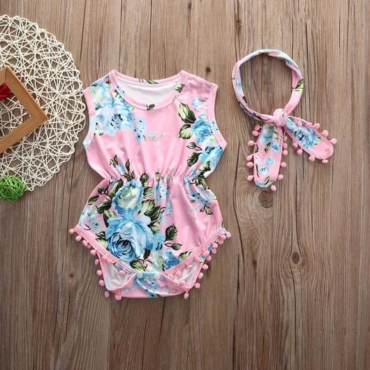 Girl Floral Romper Sleeveless Tassel Jumpsuit