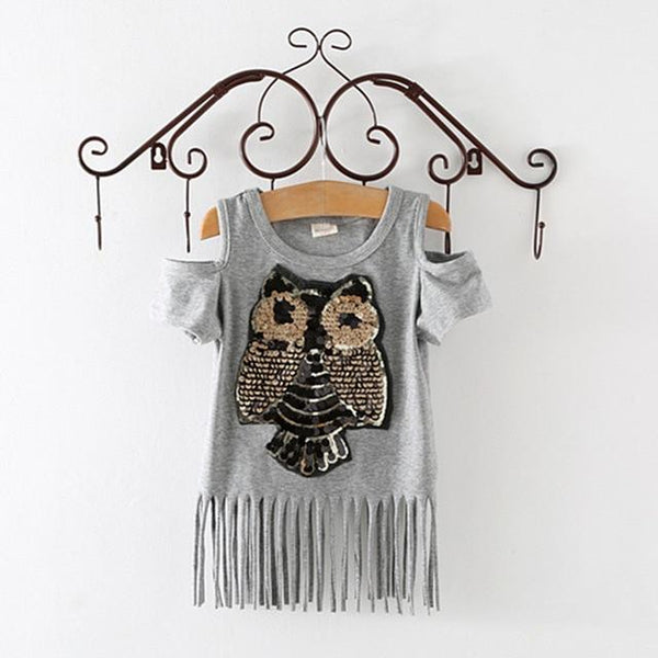 Sequins Owl Kids Girls T Shirt