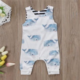 Sleeveless Summer Whale Romper