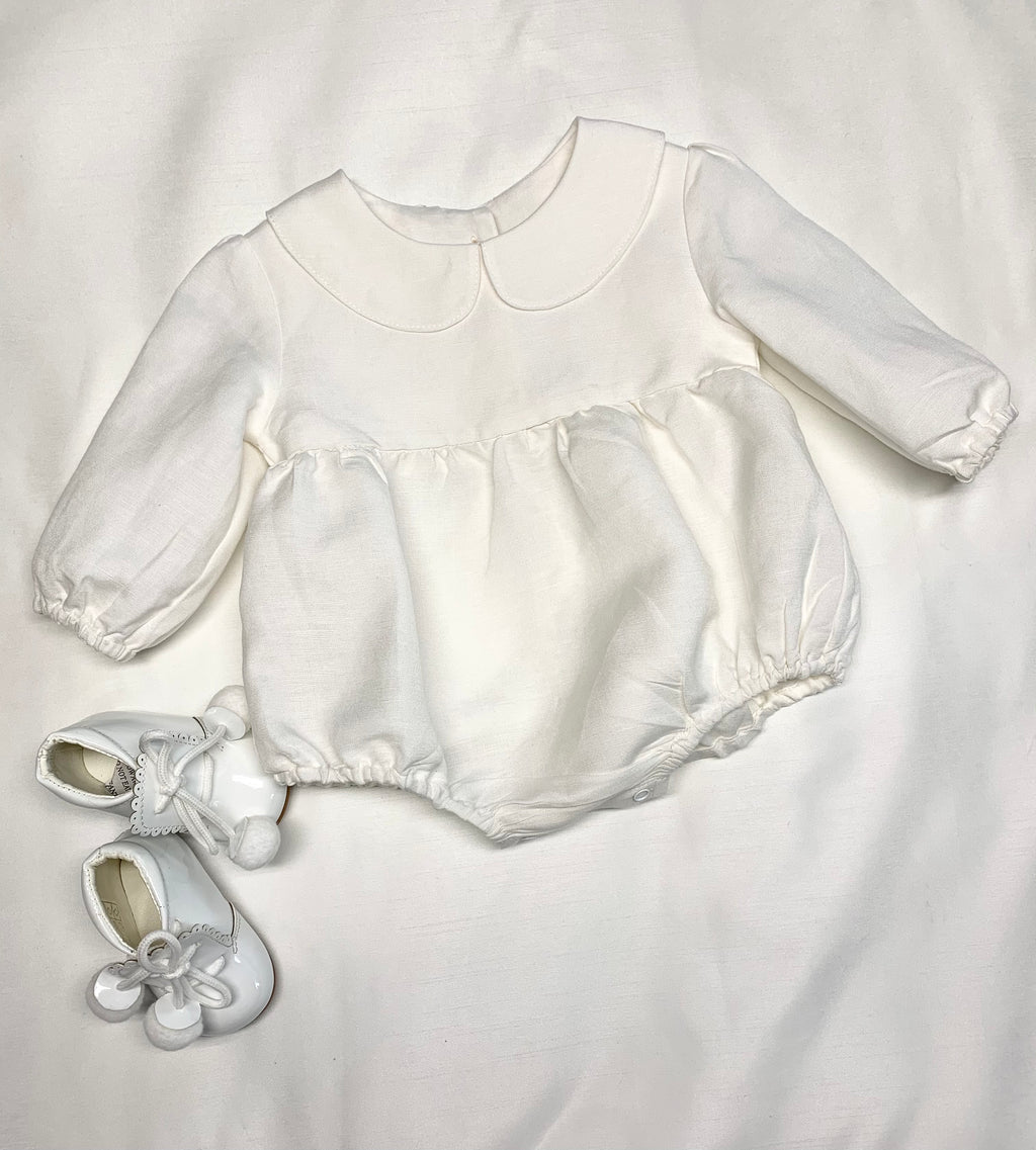 Linen Peter Pan Collar Bubble Playsuit, baby linen romper,