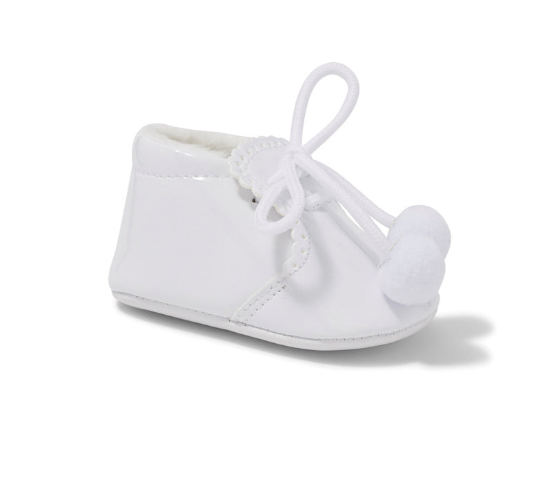 New Born White Pom Pom Shoes