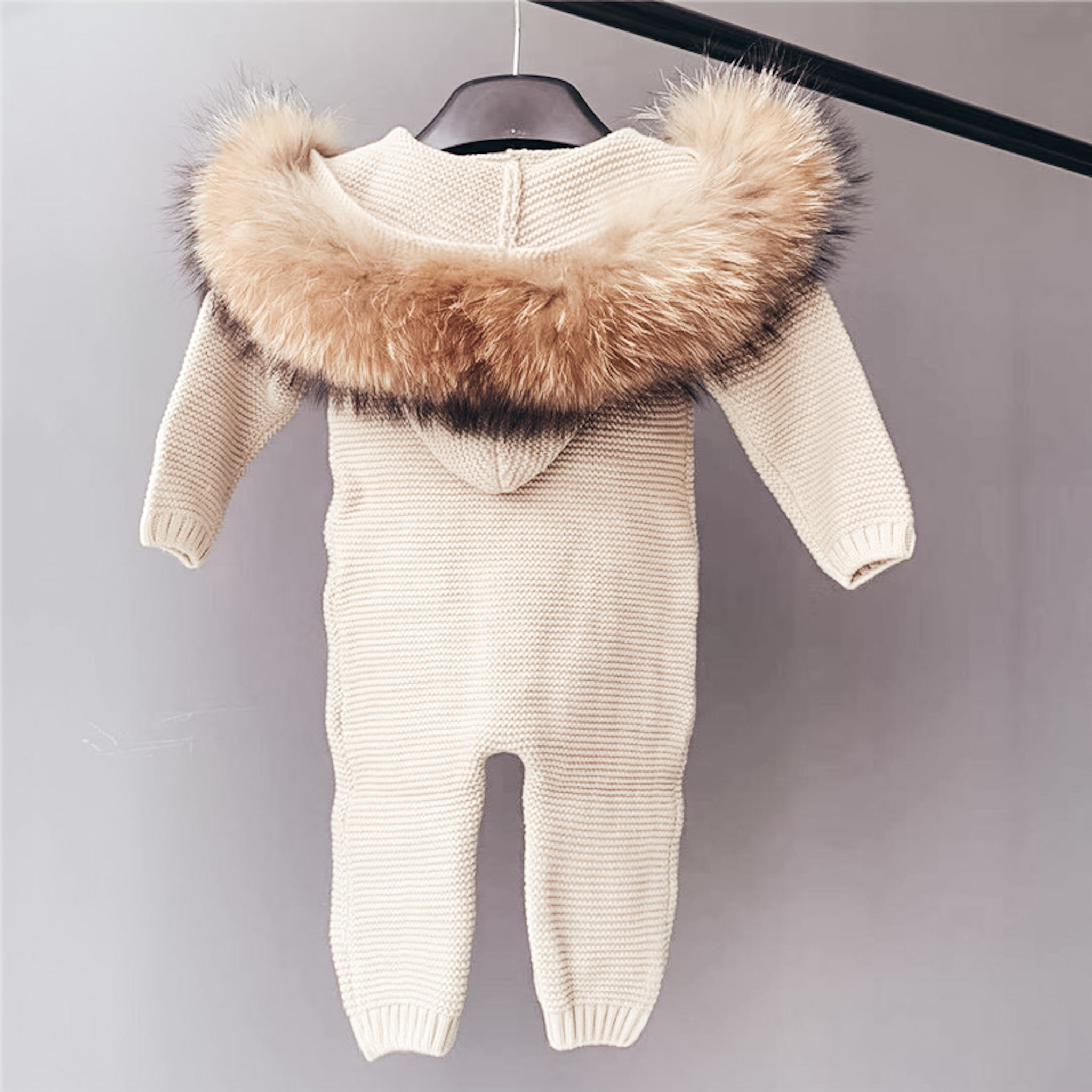 Cotton Knitted & hooded  fur romper