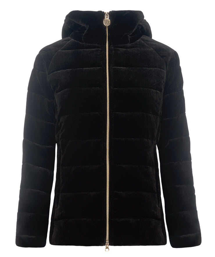 Erin Soft Touch Hooded Vevet Puffer Jacket