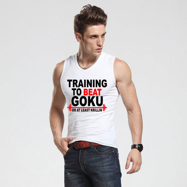 To Beat Goku Saiyan Design Men's Tank Top Dragon Ball Z Slim fit Vest super saiyan singlets Bodybuilding tank shirt