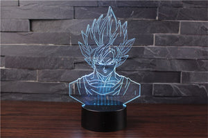 Son Goku Action Figures 3D Table Lamp 7 Color LED - 3