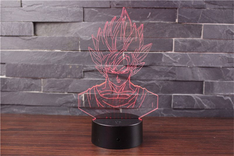 Son Goku Action Figures 3D Table Lamp 7 Color LED - red