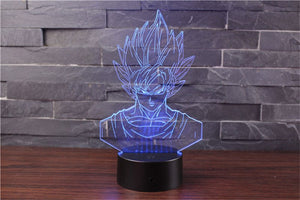 Son Goku Action Figures 3D Table Lamp 7 Color LED - blue
