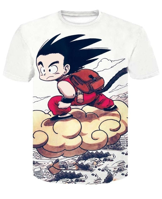 Men's 3D T Shirt Dragon Ball Z Kid Goku Flying Nimbus