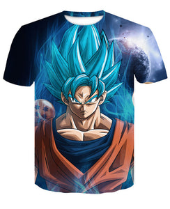 Men's 3D T Shirt Dragon Ball Z SSJ Goku Blue