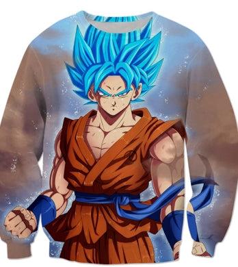 DBZ 3D Sweatshirts Men Goku Blue