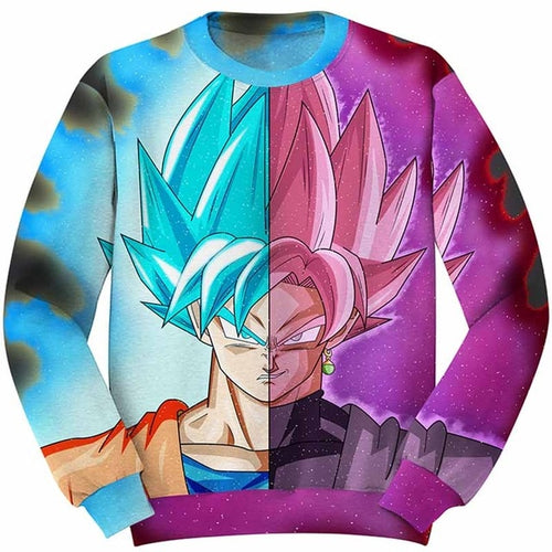 DBZ 3D Sweatshirts Goku VS Goku Black