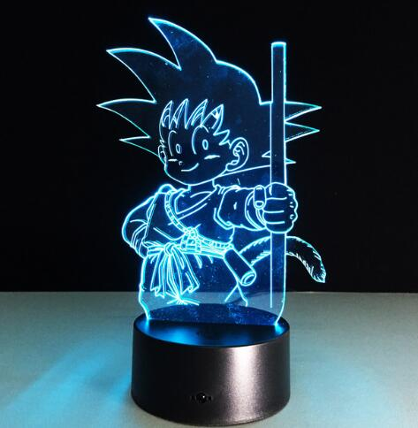 Goku Action Figures 3D Table Lamp 7 Color Changing Night Light