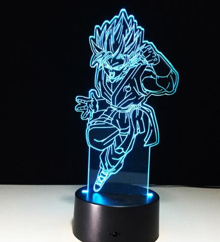 Goku Blue Action Figures 3D Table Lamp 7 Color