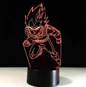 Vegeta Action Figures 3D Table Lamp 7 Color Changing Night Light