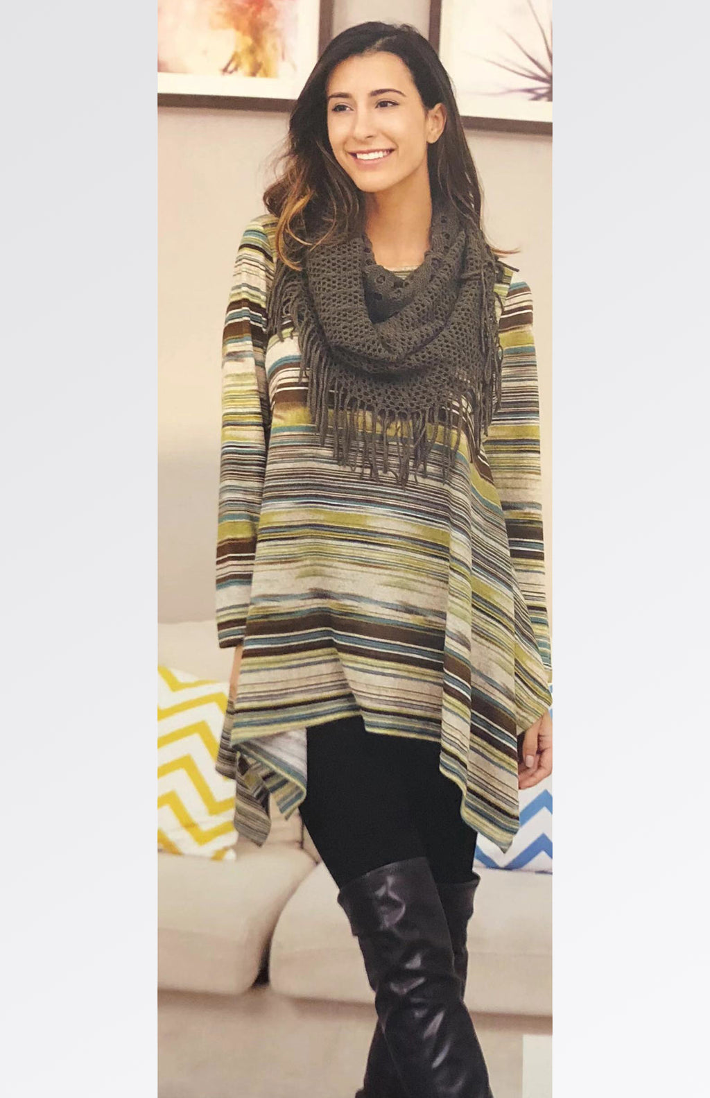 Printed Tunic Top with Scarf