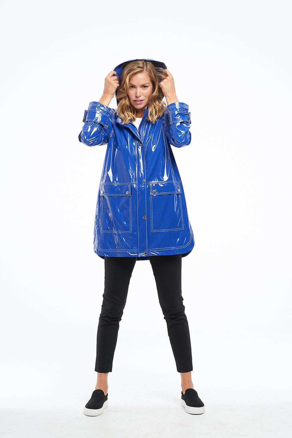 Cobalt Blue Water Resistant Rain Coat