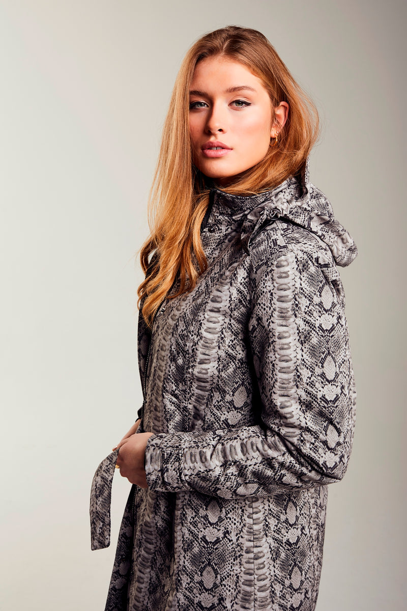 Ladies' Waterproof Snake Print Coat