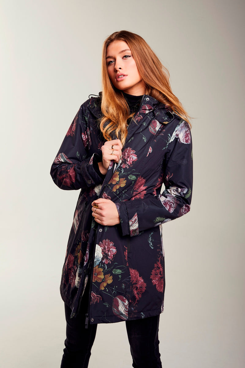 Ladies' Black Floral Print Coat Waterproof