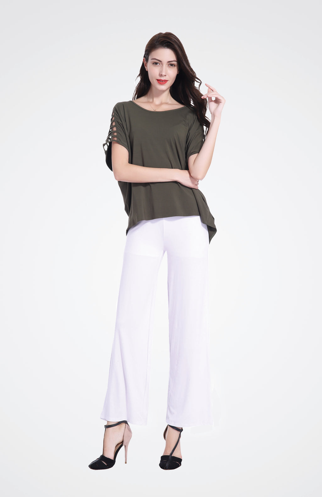 Cut-Out Shoulder Top in Bamboo Fabric