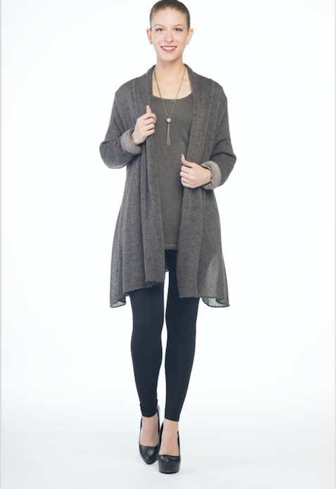 Drape Front Cardigan with Long Sleeve Tshirt