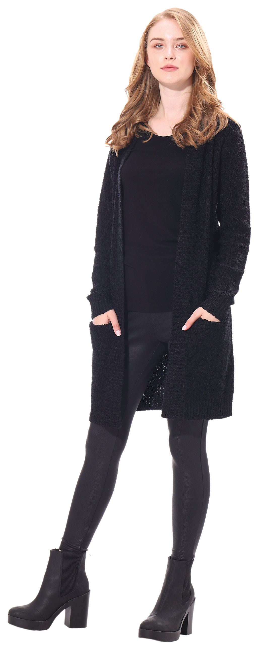 Ladies' Long Black Coat with Pockets