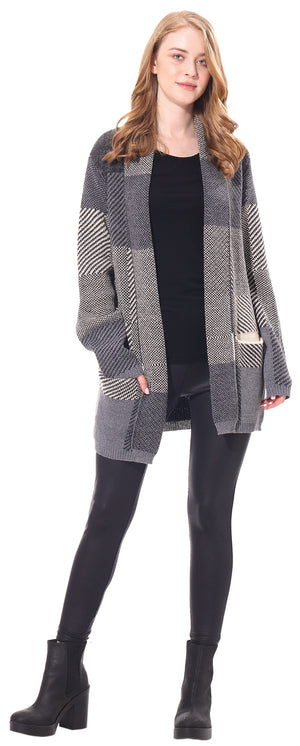 Ladies Check Cardigan