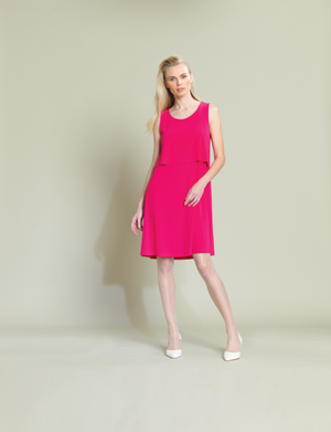 pink front Double layer A-line Dress