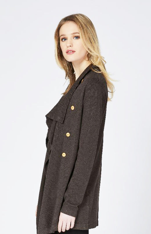 Chestnut Cardigan with Drape Collar