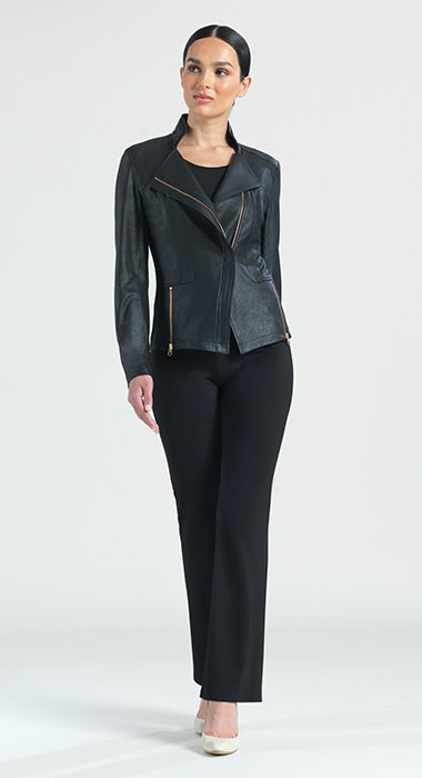 Faux Liquid Leather Zip Jacket
