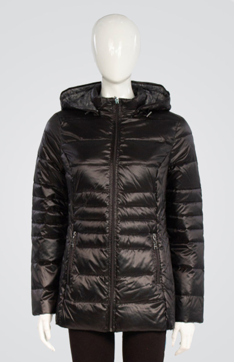Down Puffy Coat with Detachable Hood and Carrying Pouch