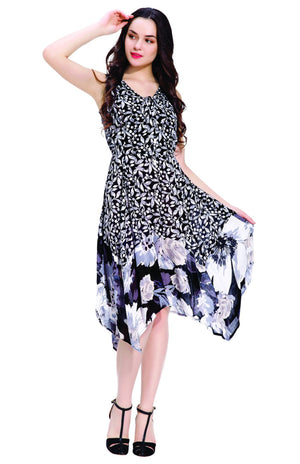 Leaf and Flower Dual Printed Long Dress
