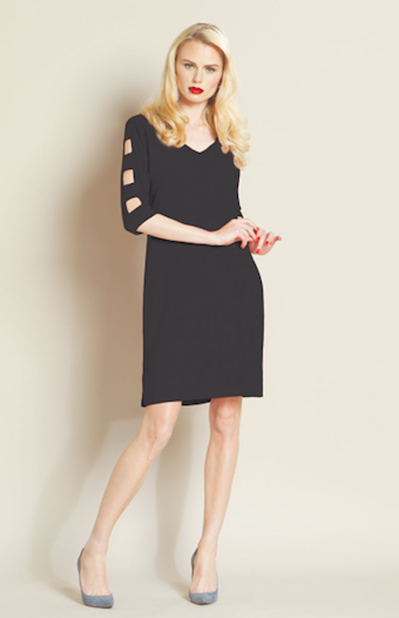 black Ladder square cutout sleeve dress