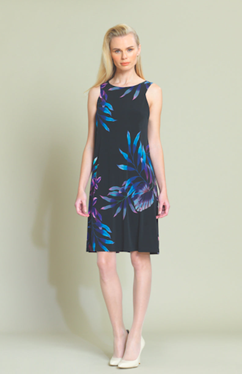Tropical Leaf Print Sleeveless Swing Dress