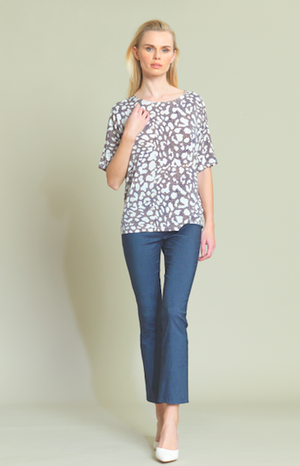 Dotted Animal Print Top with V-Back Cut Out