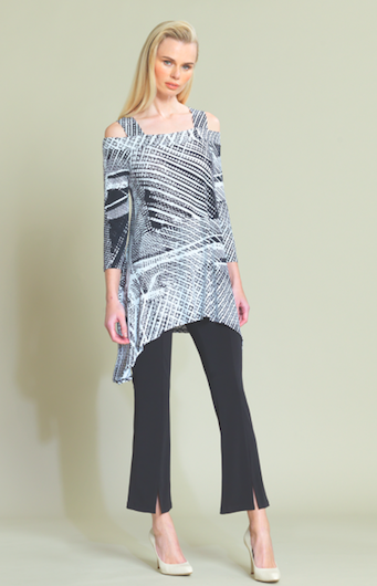 Cut-Out Shoulder Black and White Print Tunic