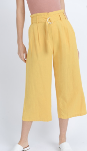 High-rise Linen Culotte Pants
