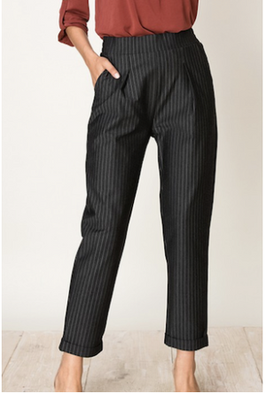 Black with white Pinstripe Pants