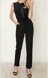 Mandarin Collared Zipper Jumpsuit