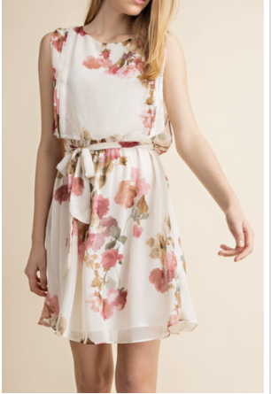 watercolor Pink Floral Spring Dress