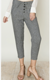 Grey Striped Paperbag waist Capri