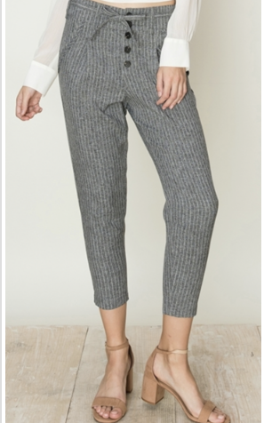 Striped Paperbag waist Capri Pant