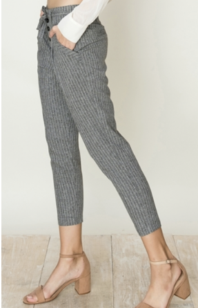 Grey Striped Paperbag waist Capri side