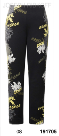 black with yellow, white and grey floral pants